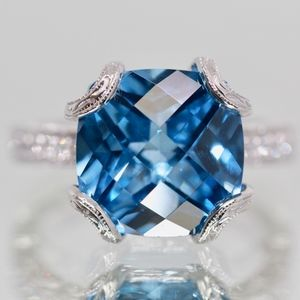 Tacori Blue Diamanique Cushion Engagement Ring